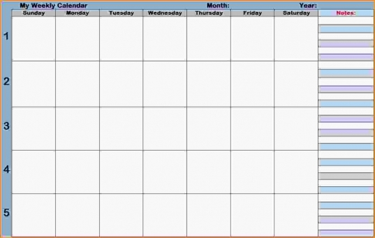 Calendar With Time Slots.blank Weekly Calendars Printable Planners