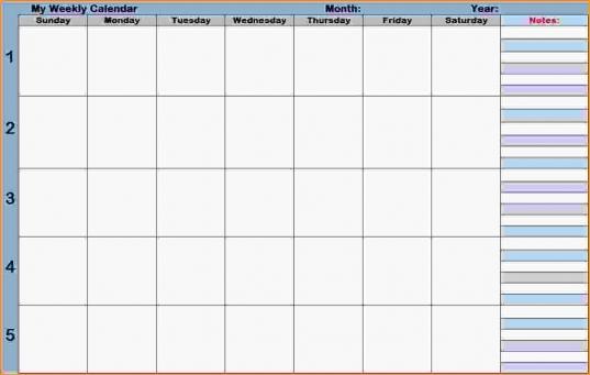 Calendar With Time Slots.blank Weekly Calendars Printable Planners