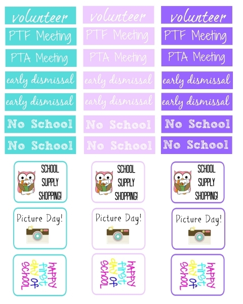 Free Printable Back To School Planner Stickers   Delicate Construction