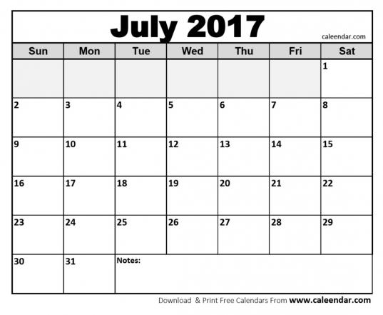 Free Printable July 2017 Calendar Online Download