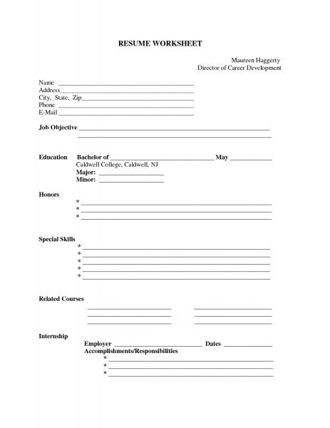 Resume Example: Resume Printable Forms Free Free Resume Form