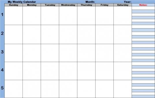 Weekly Calendar With Time Slots | Printable 2017 Calendars