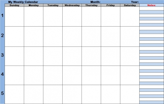 Weekly Calendar With Time Slots Template | Weekly Calendar Template