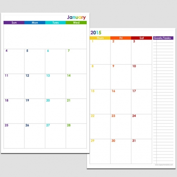 2015 12 Month 2 Page Calendar   Half Size | Legacy Templates