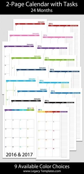 2016 Calendar Printable 5.5 X 8.5 | Calendar Template 2017