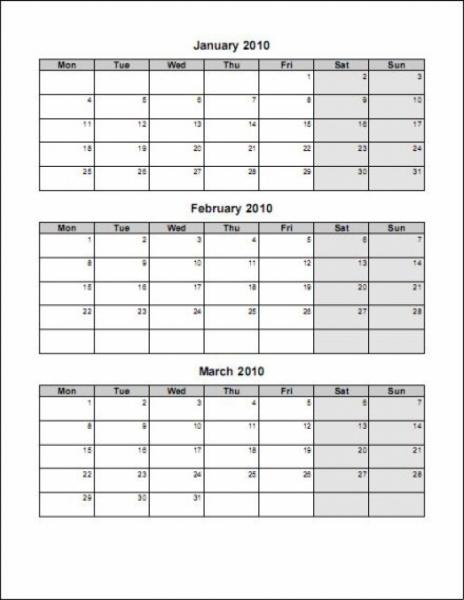3 Month Calendar Template Printable Calendar Templates Sample