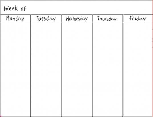 5 Day Weekly Calendar Template | Online Calendar Templates