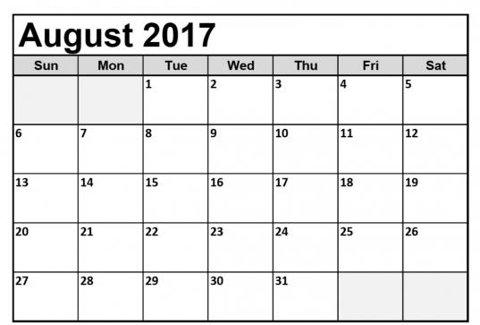 August 2017 Calendar South Africa