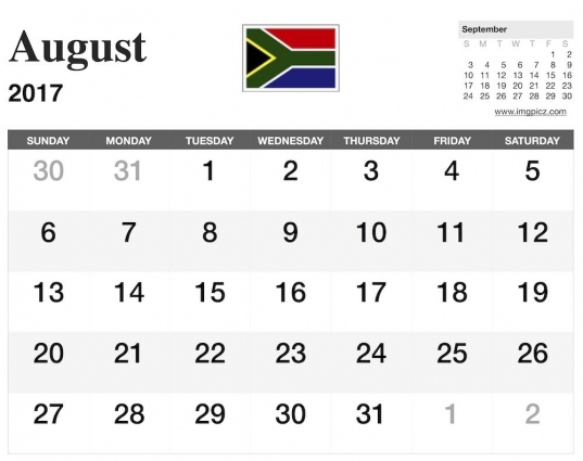 August 2017 South Africa Calendar Printable | Download Pdf. Excel