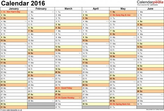 Calendar 2016 (uk)   16 Free Printable Pdf Templates