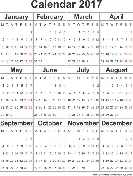 Free Printable Calendar Templates 2017, Blank Calendar 2017