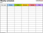 5 Day Weekly Calendar Template