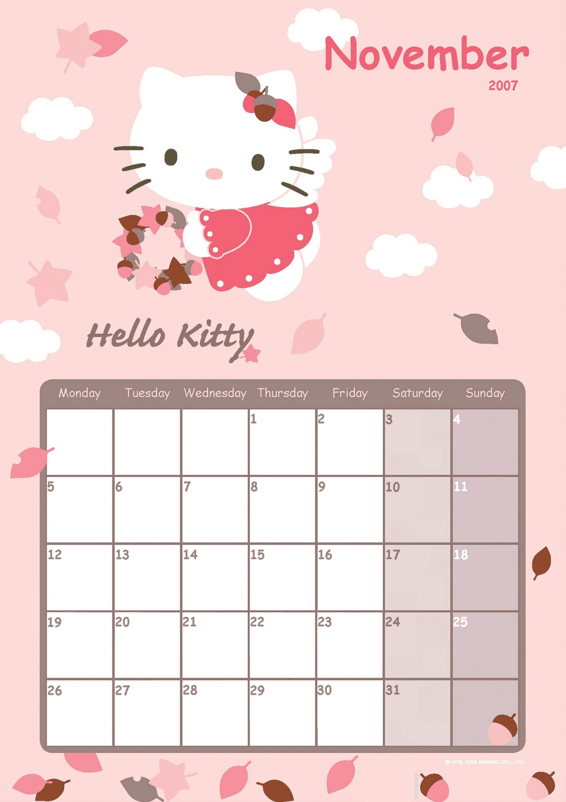 Hello Kitty Calendar 2016 Template | Calendar Template 2017