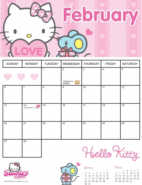 Hello Kitty February 2011 Printable Calendar!
