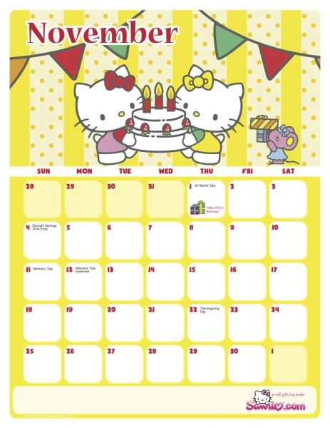 Hello Kitty Printable Calendar Template