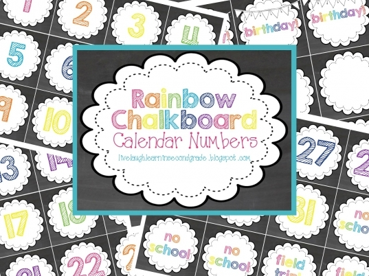 Live Laugh & Learn In Second Grade: Rainbow Chalkboard Calendar