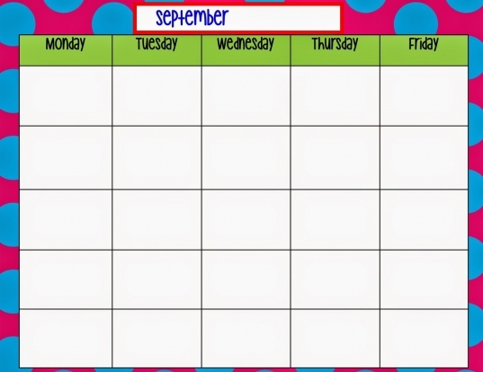 Monday Friday Calendar Template | Great Printable Calendars