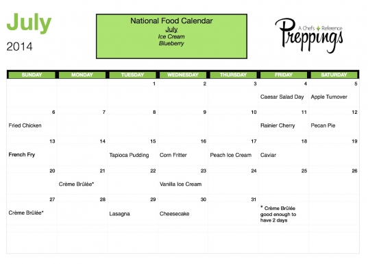 National Food Days  July 2014   Preppings