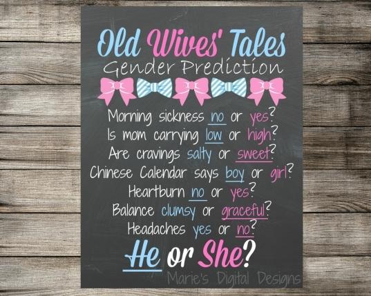 Old Wives Tales Gender Prediction Ba Shower Chalkboard