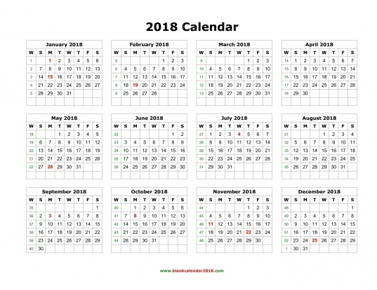Printable 12 Month Calendar 2018   Geocvc.co