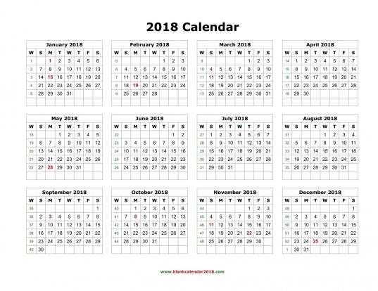 Printable 12 Month Calendar 2018   Geocvc.co