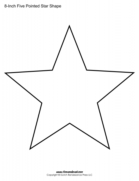 Printable Five Pointed Star Templates| Blank Shape Pdfs