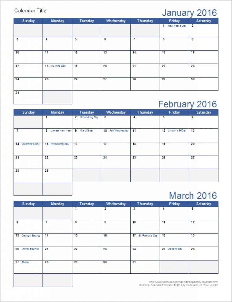 Quarterly Calendar Template Sample | Printable Online Calendar