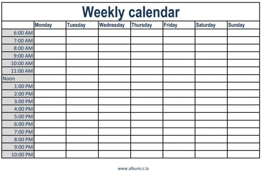 Weekly Calendar Printable   Tradinghub.co