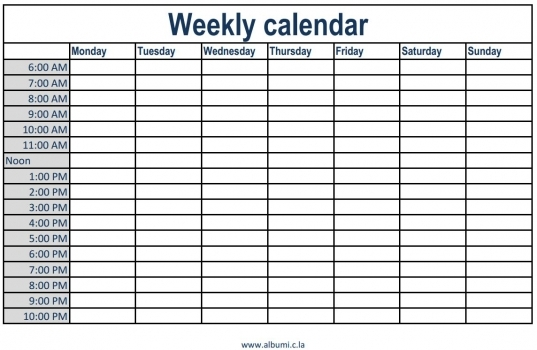 Weekly Calendar With Time Slots | Printable 2017 Calendars