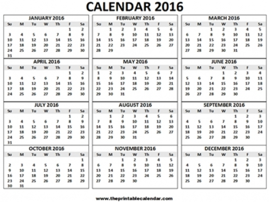 12 Months Calendar | Printable Calendar Yearly