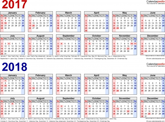 2017 2018 Calendar   Free Printable Two Year Word Calendars