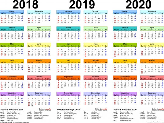2018/2019/2020 Calendar   4 Three Year Printable Excel Calendars