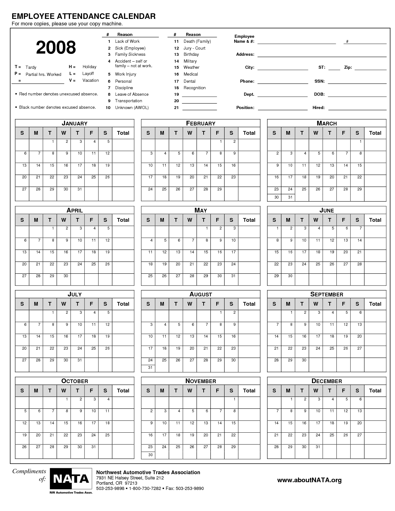 2018 Employee Attendance Calendar Printable   Targer.golden Dragon.co