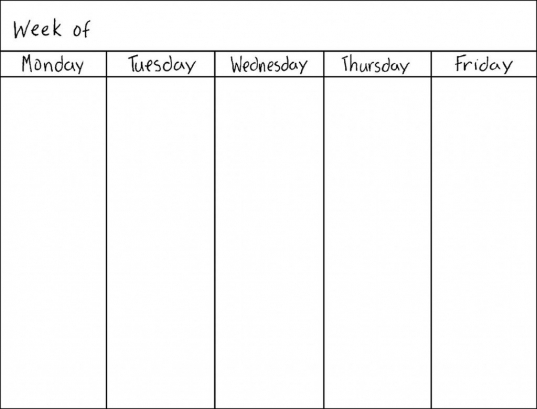 5 Day Weekly Calendar Printable | Yspages