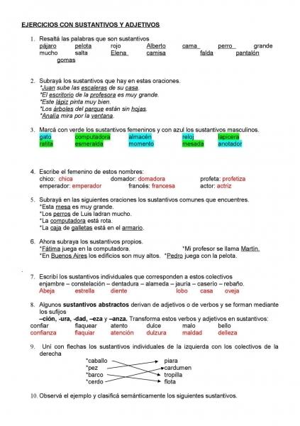 Calaméo   Ejercicios Con Sustantivos Y Adjetivos (1).