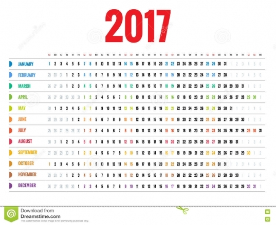 Diseño De Calendario Mensual De La Pared Por 2017 Años La Semana
