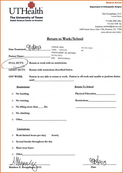Doctors Note For Work Absence   Hatch.urbanskript.co