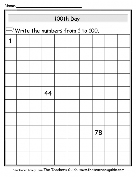 The Teacher's Guide 100th Day Of School Theme Page