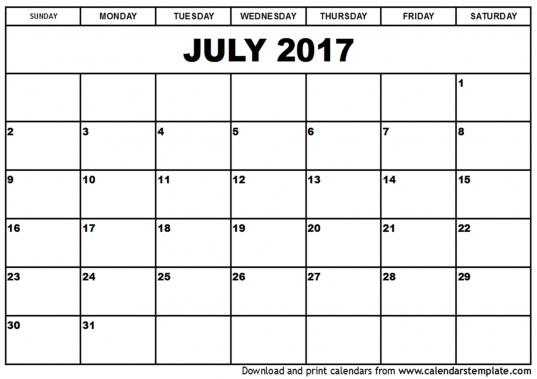 July 2017 Calendar Pdf | Calendar Printable Free