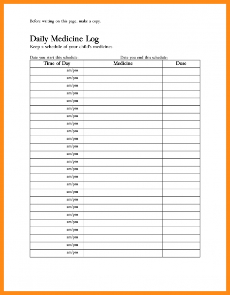 blank medicine calendar am and pm