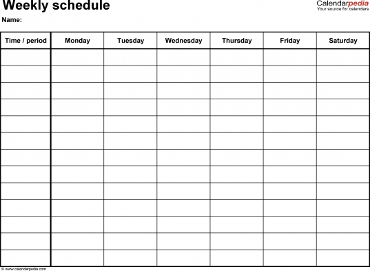 Monday Friday Schedule Template   North.fourthwall.co