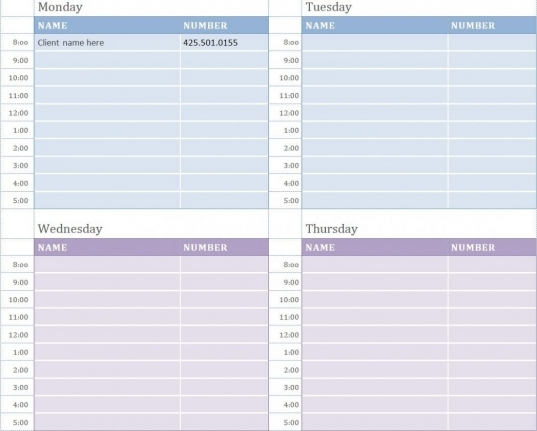 Weekly Appointment Calendar Template Dow ~ Myenvoc