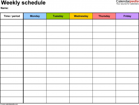 Weekly Schedule Template For Word Version 1: Landscape, 1 Page