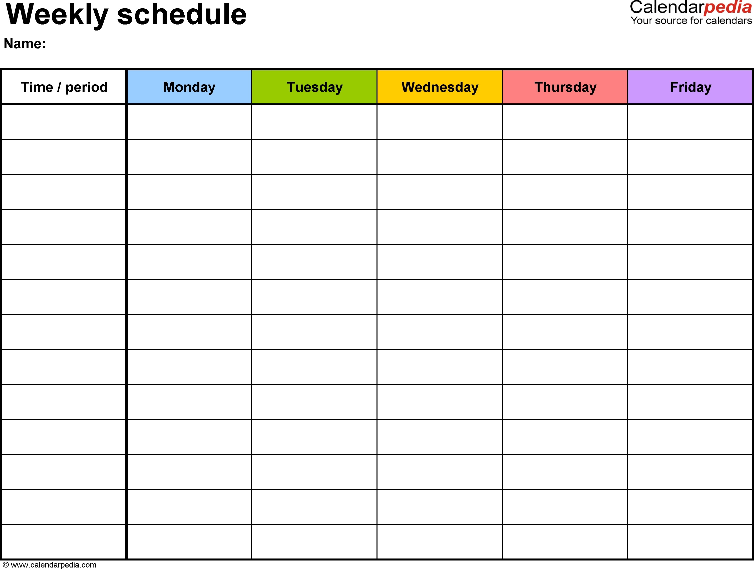 Blank Weekly Calendar With Time Slots Starting At 5am   2018