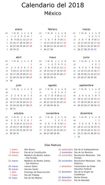 Feriados Puente 2018   Calendariolaboral.mx