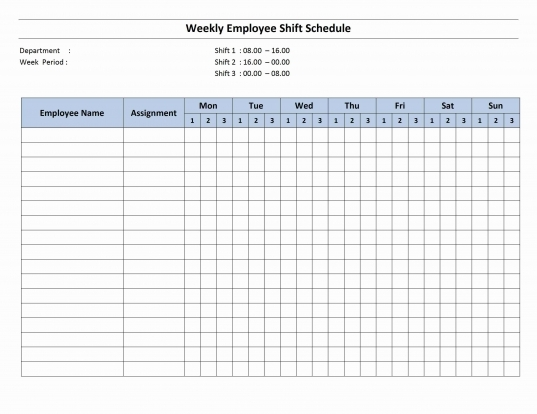 Free Monthly Work Schedule Template | Weekly Employee 8 Hour Shift