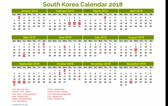 South Korea Calendar 2018 4   Newspictures.xyz