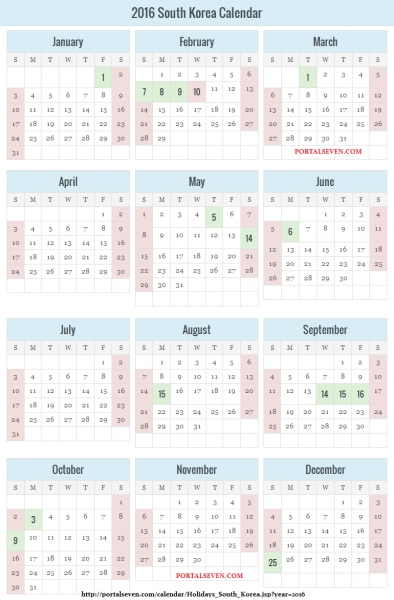 South Korea Public Holidays & Calendar