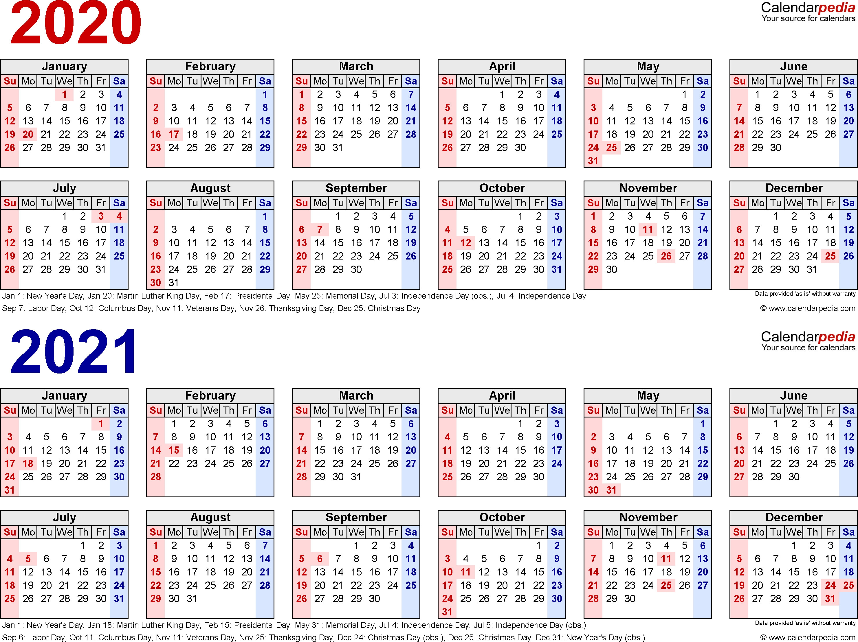 2020 2021 Calendar Free Printable Two Year Word Calendars Within