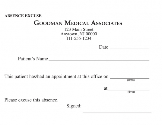 Blank Printable Doctor Excuse Form | Keskes Printing   Mds